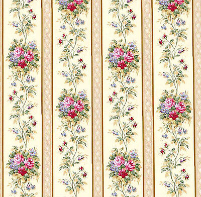 Dolls House Wallpaper 1/12th 1/24th scale Cream Floral Quality Paper #39