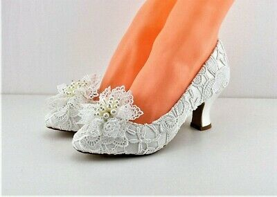 Matching Shoes and Bag Ivory Vintage Lace Bridal Shoes with Kiwi Trim 6.2cm Heel