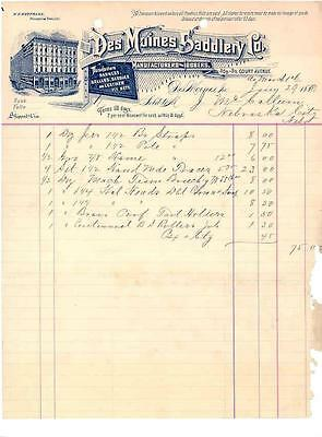 1891 Saddlery Items - Des Moines Saddlery Invoice