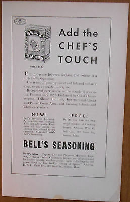 1937 vintage AD Add the Chef's Touch Bell's Seasoning