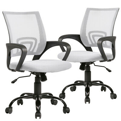 White Ergonomic Mesh Computer Office Desk Task Chair w/Metal Base H12 sets of 2
