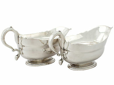 Pair of Newcastle Sterling Silver Sauceboats by Isaac Cookson  Antique George II
