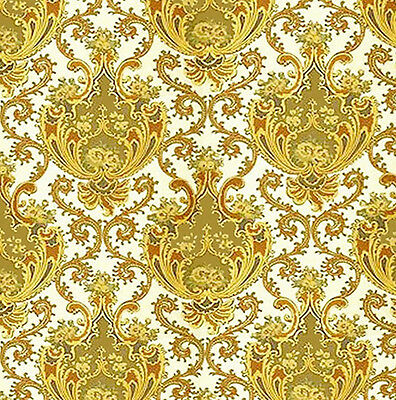 Dolls House Wallpaper 1/12th 1/24th scale Gold Quality Paper #03