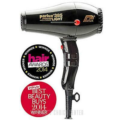 Parlux 385 PowerLight Ionic and Ceramic Hair Dryer BLACK - built-in silencer