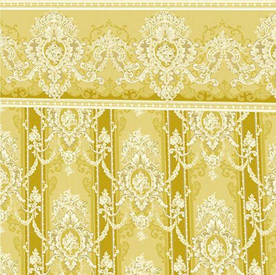 Dolls House Wallpaper 1/12th 1/24th scale Gold Quality Paper #127