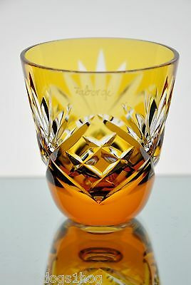 Faberge Na Zdorovye Yellow Gold Cut to Clear Crystal Vodka Shot Glass New Signed