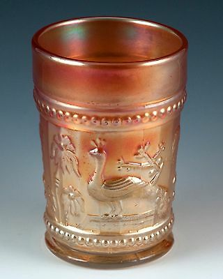 Antique NORTHWOOD Peacock at the Fountain Carnival Glass Tumbler Marigold c.1912