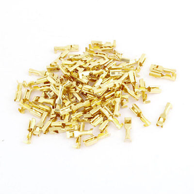 100 Pcs Gold Tone 3mm Wide Female Spade Crimp Terminal Connectors