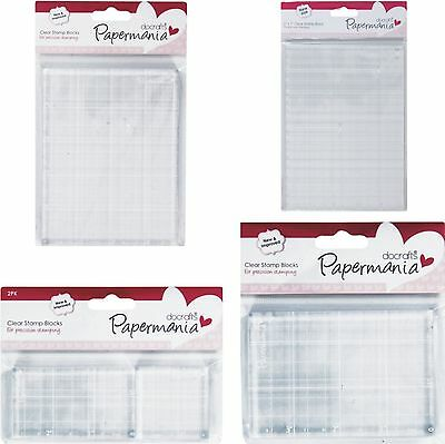 Papermania Clear Acrylic Stamp Blocks To Mount Rubber Stamps With Gridlines -New