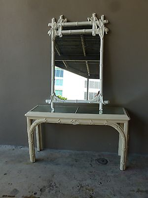 Fabulous 70's  Vintage Palm Beach Style Chinese Chippendale Console And Mirror