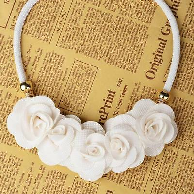 Fantastic White Beads Flower Fabric Cord Statement Choker Pendant Prom Necklace