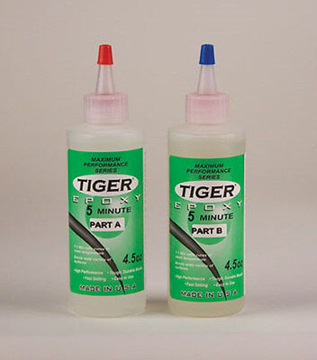 NEW Tiger Epoxy 5 Minute 9oz  - Two part maximum strength series - Fast! TXY5