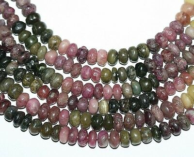 "14"" St Mult Rough Tourmaline Smooth Rondelle  Gems Beads 8mm"