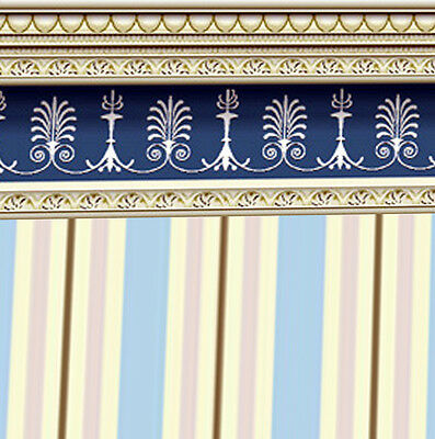 Dolls House Wallpaper 1/12th 1/24th scale Blue Quality Paper #152