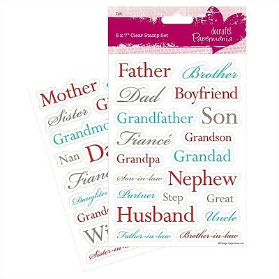 Papermania Male And Female Relations 37 Piece Clear Stamp Set Card Making - New