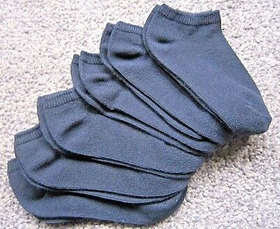 6 Pair Black Cotton Trainer Liner Ankle Socks Assorted Size