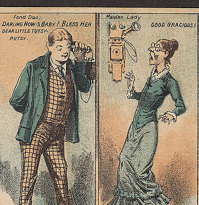 1880's Telephone Victorian Old Maid Dad Comic Joke Stock Advertising Trade Card