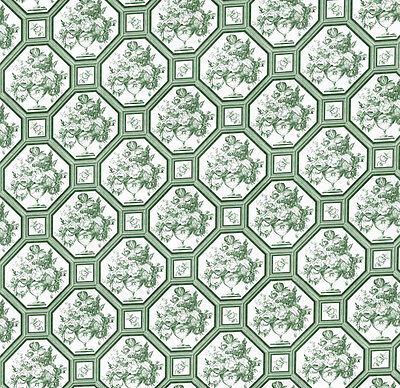 Dolls House Wallpaper 1/12th 1/24th scale Kitchen Green Quality Paper #172