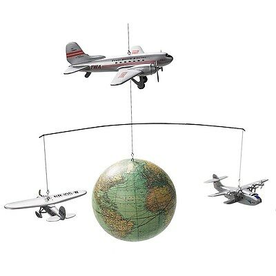 Authentic Models Around the World Globe and Aeroplane Mobile