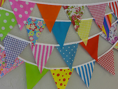 Handmade Fabric Bunting Purple /& Turq design 16ft 32ft no gaps Celebration