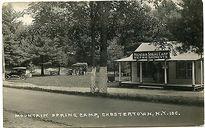 RPPC NY Adirondacks Chestertown Mountain Spring Camp (Nice Sign) Warren County