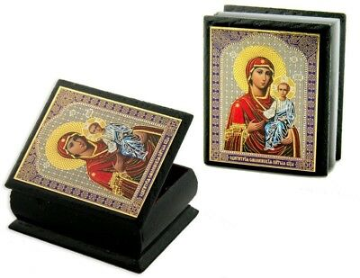"""Virgin of Smolensk Authentic Russian Decoupage Icon on 2"""" Wooden Rosary Box"""