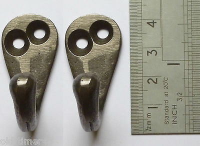 PAIR OF Small 41mm Round Cast Antique Iron COAT / ROBE HOOKS  Including Screws