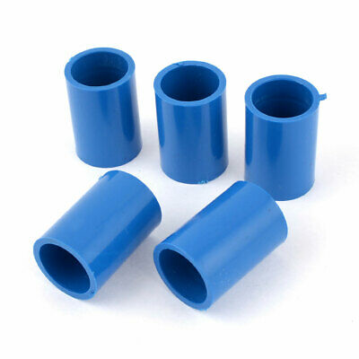 5 Pcs 20mm Inner Dia Straight PVC Pipe Connectors Fittings Coupler Blue