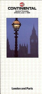 Airline Timetable - Continental - 01/06/88