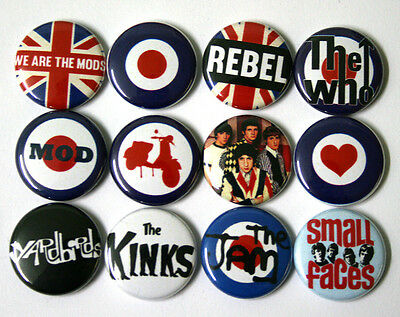 MOD Target Badges Buttons Pins x 12 Kinks, The Who, Yardbirds, Small Faces