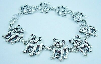 6.75 inch Adorable French Bulldog Bracelet antique silver plated 17 cm