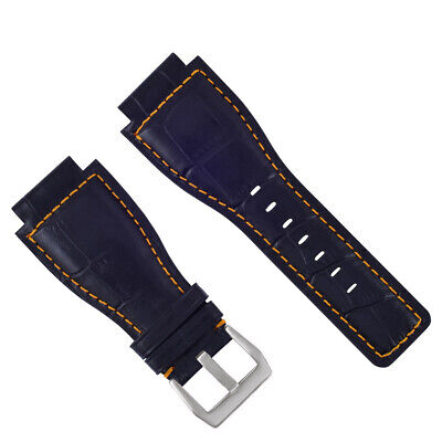 24Mm Leather Watch Band Strap For Bell & Ross Br-01-Br-03 Watch Blue Orange Stit