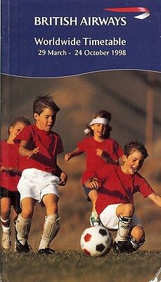 Airline Timetable - British Airways - 29/03/98 - Kids Football Soccer cover
