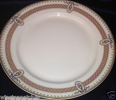 """M Redon Limoges Rdn28 Pl40 Floral Cameos Pink Band & Ribbon Salad Plate 8 5/8"""""""