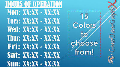 "12""X10"" Custom Business Hours of Operation Vinyl Decal Sign-High Quality-Color"