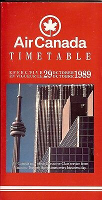 Airline Timetable - Air Canada - 29/10/89 - Toronto CN Tower cover