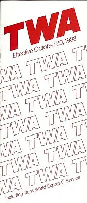 Airline Timetable - TWA - 30/10/88