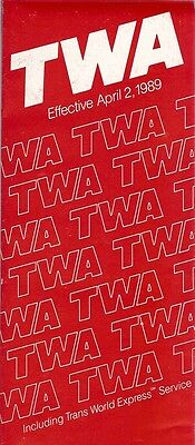 Airline Timetable - TWA - 02/04/89