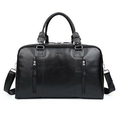 Genuine Leather Men's HandBags Travel Tote Duffle Gym Shoulder Bag Brown Black