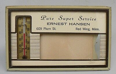 Vintage Thermometer Advertising Ernest Hansen Pure Super Service, Red Wing. Minn