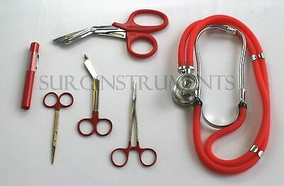 RED Paramedic Set - Diagnostic EMT Nursing EMS Emergency Sprague Stethoscope