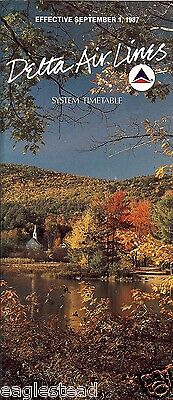 Airline Timetable - Delta - 01/09/87 - Fall Foliage cover