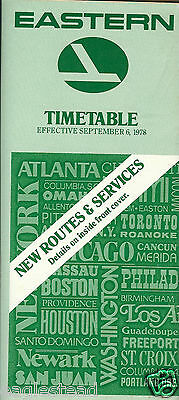 Airline Timetable - Eastern - 06/09/78 - 50 years of service logo