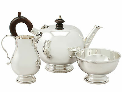 Sterling Silver Bachelor Three Piece Tea Set - George I Style - Vintage 1988