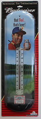 Budweiser Beer Tin Thermometer Cabin House Garage Bar Indoor Outdoor
