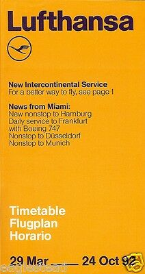 Airline Timetable - Lufthansa - 29/03/92 - Miami Flight Highlights Cover