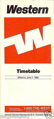 Airline Timetable - Western - 01/06/85