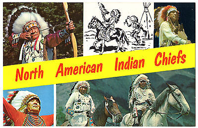 Native North American Indian CHIEFS Vintage 1960's Split View Banner Photo PC