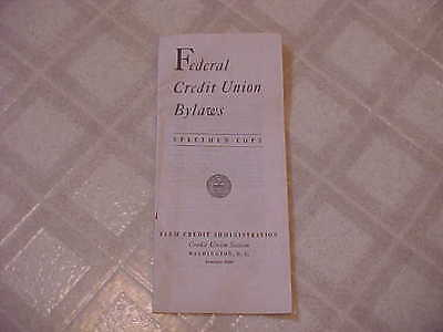 RARE 1939  Federal Credit Union By-Laws Booklet ~ 25-pages ~ FCD - Washington DC