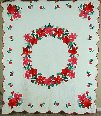 OUTSTANDING Vintage Hibiscus Wreath Applique Antique Quilt with Hand Embroidery!